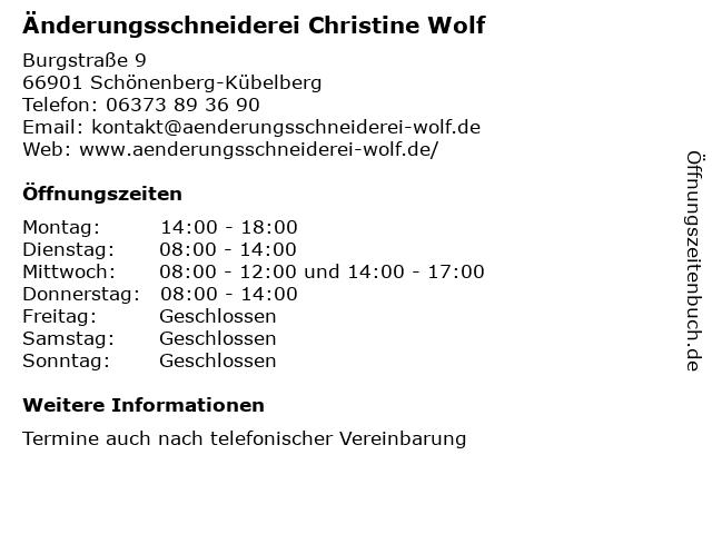 Änderungsschneiderei Christine Wolf in Schönenberg-Kübelberg: Adresse und Öffnungszeiten