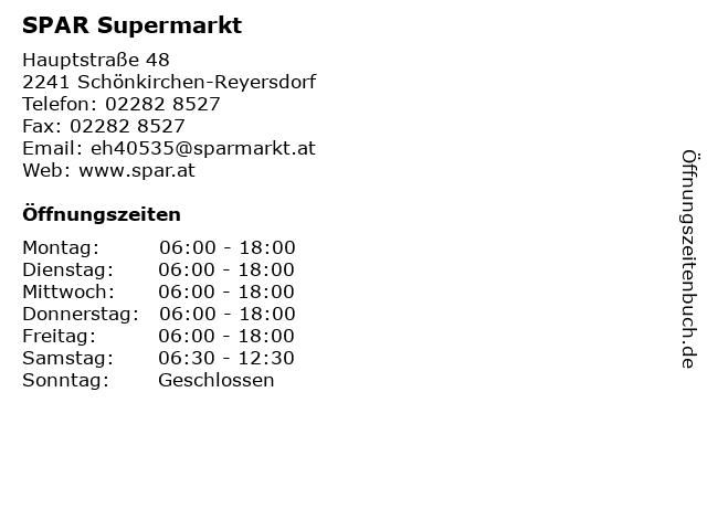 ᐅ öffnungszeiten Spar Supermarkt Hauptstraße 48 In Schönkirchen