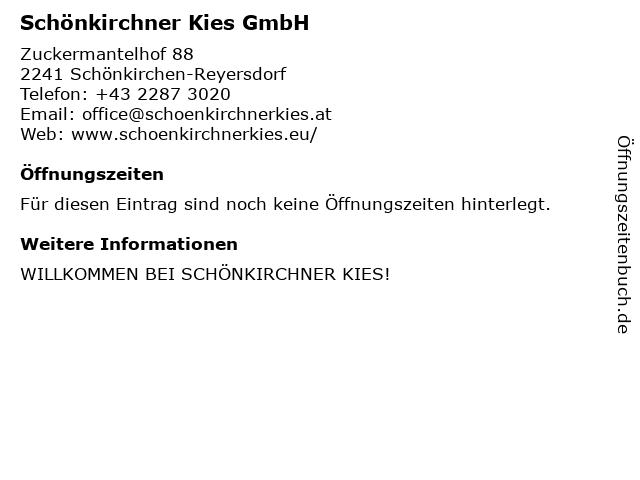 Schönkirchner Kies GmbH in Schönkirchen-Reyersdorf: Adresse und Öffnungszeiten