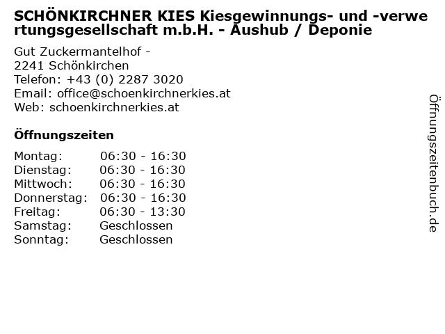 SCHÖNKIRCHNER KIES Kiesgewinnungs- und -verwertungsgesellschaft m.b.H. - Aushub / Deponie in Schönkirchen: Adresse und Öffnungszeiten