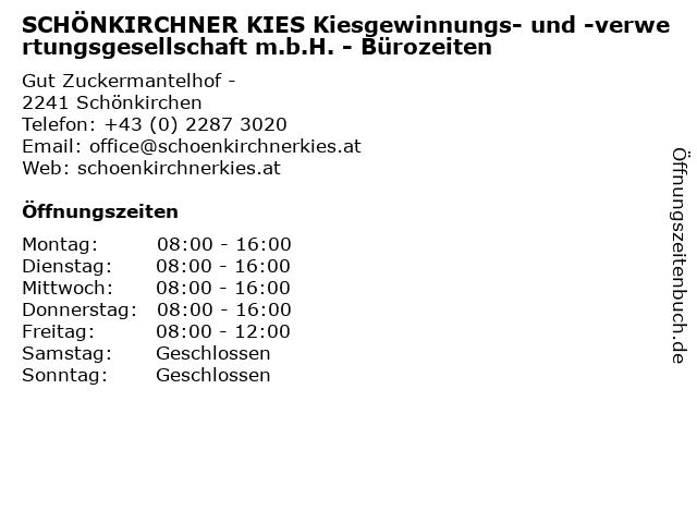 SCHÖNKIRCHNER KIES Kiesgewinnungs- und -verwertungsgesellschaft m.b.H. - Bürozeiten in Schönkirchen: Adresse und Öffnungszeiten