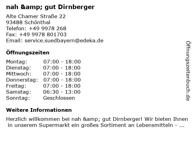 nah & gut Dirnberger in Schönthal: Adresse und Öffnungszeiten