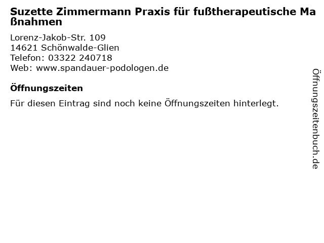 Suzette Zimmermann Praxis für fußtherapeutische Maßnahmen in Schönwalde-Glien: Adresse und Öffnungszeiten