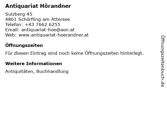 Antiquariat Hörandner in Schörfling am Attersee: Adresse und Öffnungszeiten