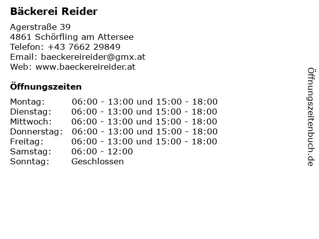 Bäckerei Reider in Schörfling am Attersee: Adresse und Öffnungszeiten