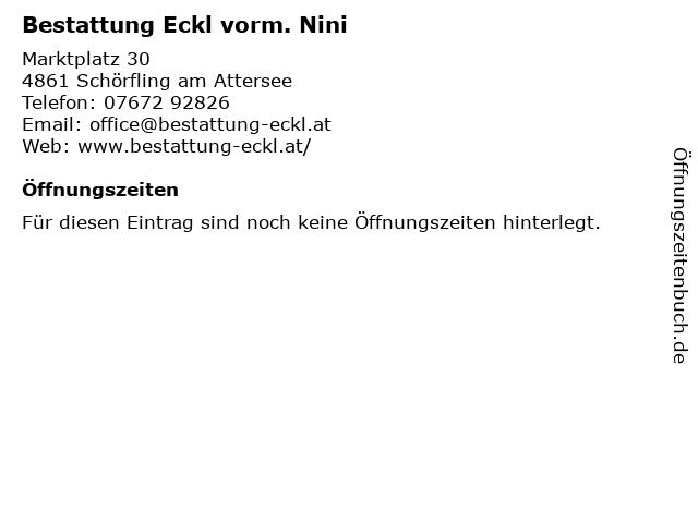 Bestattung Eckl vorm. Nini in Schörfling am Attersee: Adresse und Öffnungszeiten