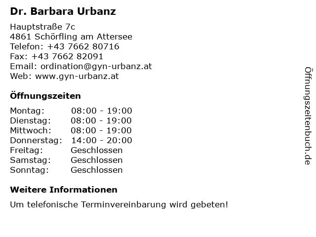 Dr. Barbara Urbanz in Schörfling am Attersee: Adresse und Öffnungszeiten