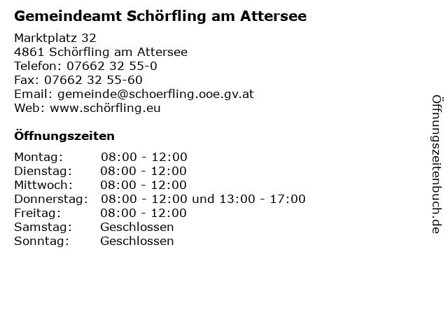 Gemeindeamt Schörfling am Attersee in Schörfling am Attersee: Adresse und Öffnungszeiten