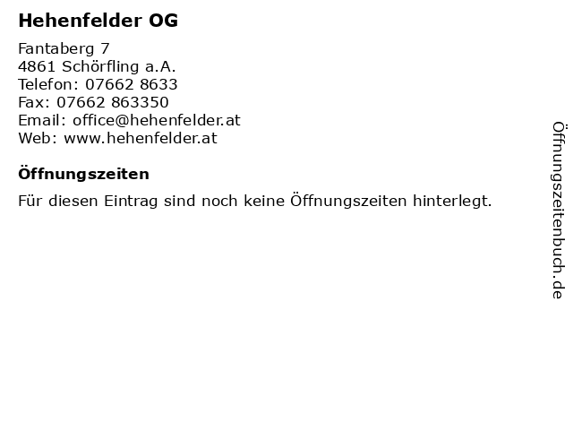 Hehenfelder OG in Schörfling am Attersee: Adresse und Öffnungszeiten