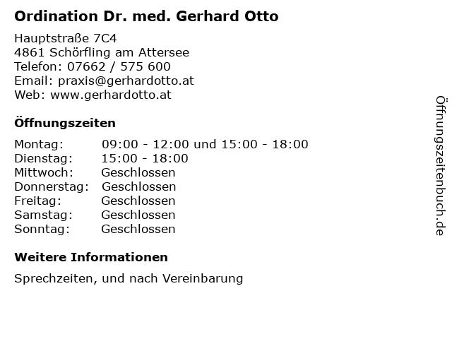 Ordination Dr. med. Gerhard Otto in Schörfling am Attersee: Adresse und Öffnungszeiten