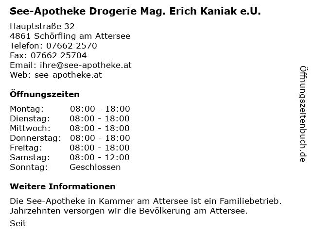 See-Apotheke Drogerie Mag. Erich Kaniak e.U. in Schörfling am Attersee: Adresse und Öffnungszeiten
