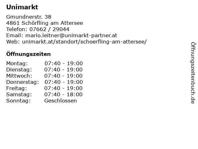 Unimarkt in Schörfling am Attersee: Adresse und Öffnungszeiten