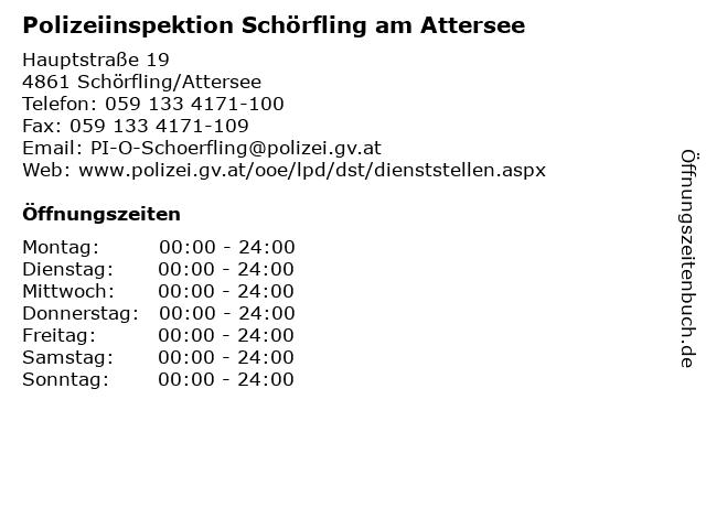 Polizeiinspektion Schörfling am Attersee in Schörfling/Attersee: Adresse und Öffnungszeiten