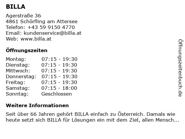 Billa in Schörfling: Adresse und Öffnungszeiten