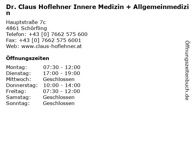 Dr. Claus Hoflehner Innere Medizin + Allgemeinmedizin in Schörfling: Adresse und Öffnungszeiten