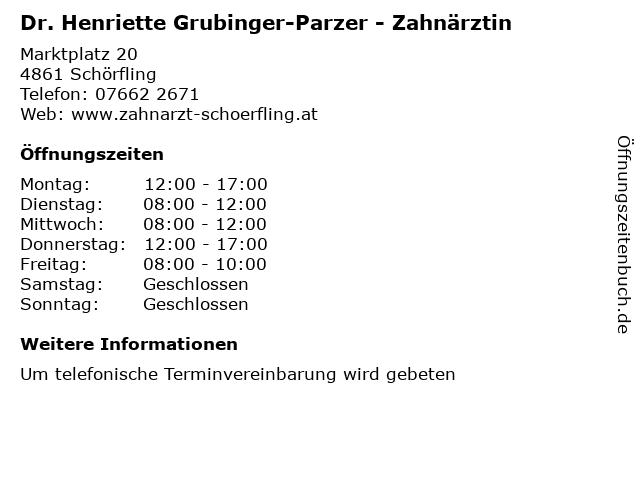 Dr. Henriette Grubinger-Parzer - Zahnärztin in Schörfling: Adresse und Öffnungszeiten