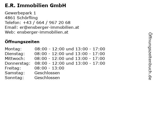 E.R. Immobilien GmbH in Schörfling: Adresse und Öffnungszeiten
