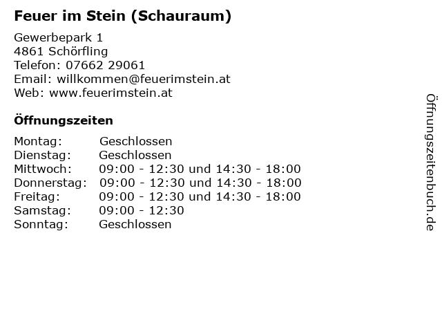 Feuer im Stein (Schauraum) in Schörfling: Adresse und Öffnungszeiten