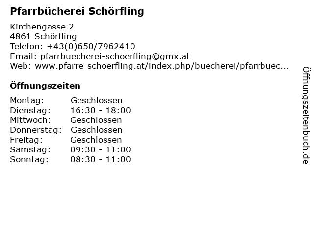 Pfarrbücherei Schörfling in Schörfling: Adresse und Öffnungszeiten