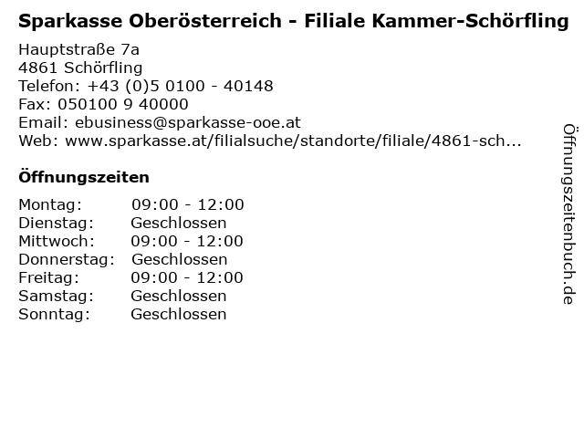 Sparkasse Oberösterreich - Filiale Kammer-Schörfling in Schörfling: Adresse und Öffnungszeiten