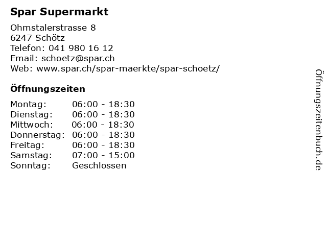 Spar Supermarkt in Schötz: Adresse und Öffnungszeiten