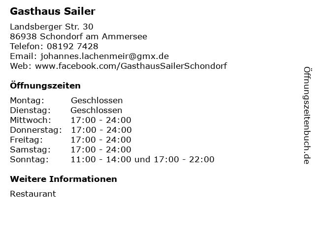 Gasthaus Sailer in Schondorf am Ammersee: Adresse und Öffnungszeiten