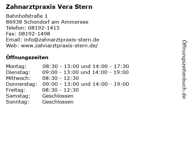 Zahnarztpraxis Vera Stern in Schondorf am Ammersee: Adresse und Öffnungszeiten