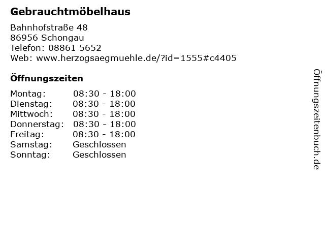 ᐅ öffnungszeiten Gebrauchtmöbelhaus Bahnhofstraße 48 In Schongau