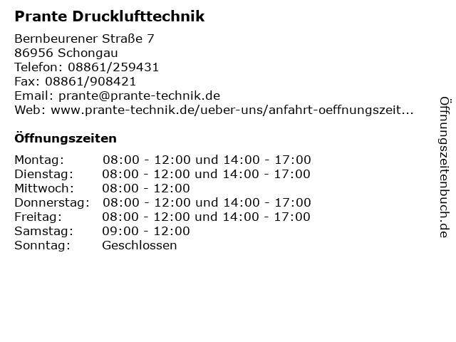 Prante Drucklufttechnik in Schongau: Adresse und Öffnungszeiten