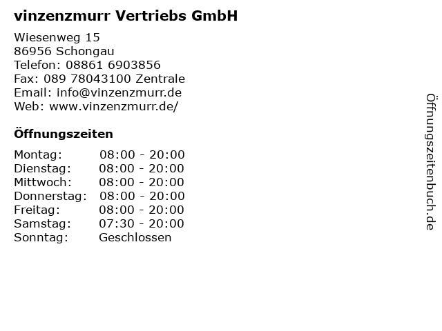 vinzenzmurr Vertriebs GmbH in Schongau: Adresse und Öffnungszeiten