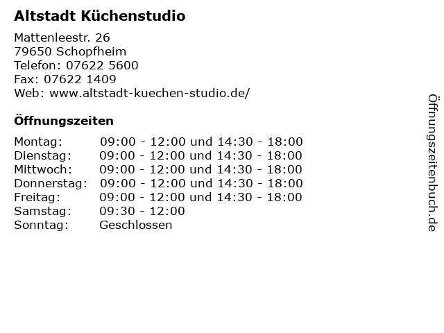 Altstadt Küchenstudio in Schopfheim: Adresse und Öffnungszeiten