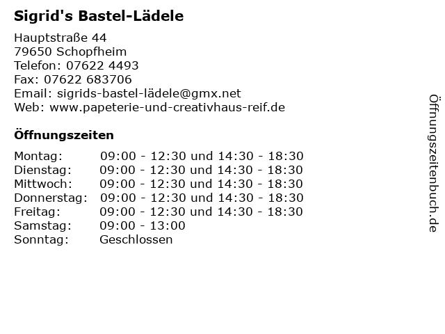 Sigrid's Bastel-Lädele in Schopfheim: Adresse und Öffnungszeiten