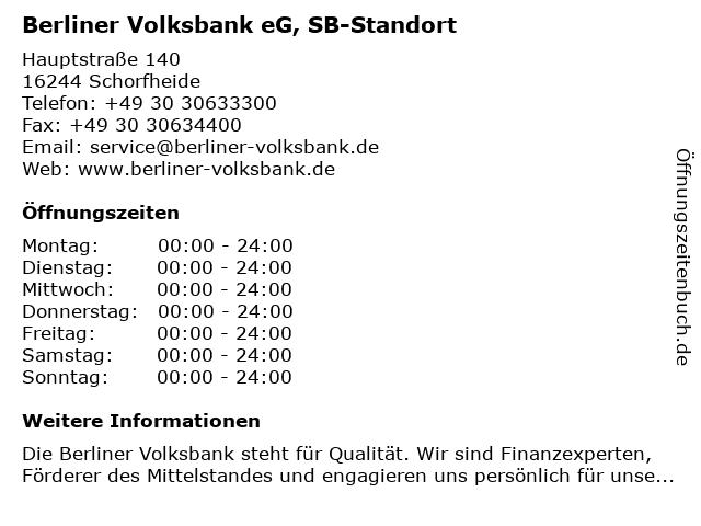 Berliner Volksbank eG, SB-Standort in Schorfheide: Adresse und Öffnungszeiten