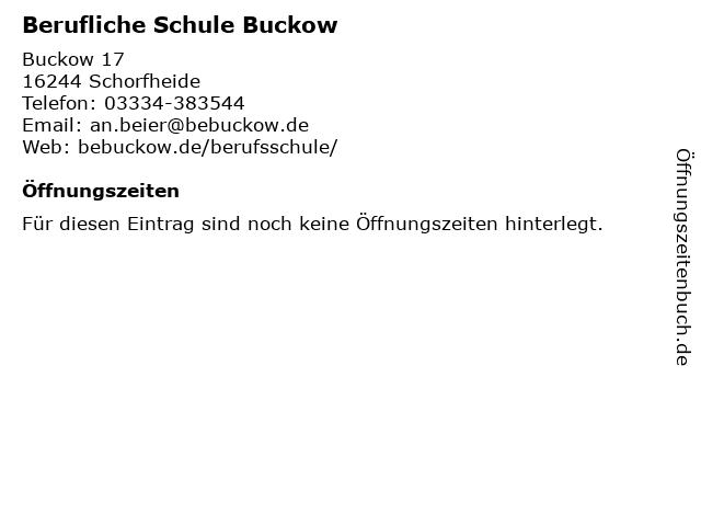 Berufliche Schule Buckow in Schorfheide: Adresse und Öffnungszeiten