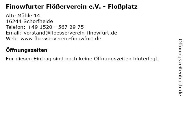 Finowfurter Flößerverein e.V. - Floßplatz in Schorfheide: Adresse und Öffnungszeiten