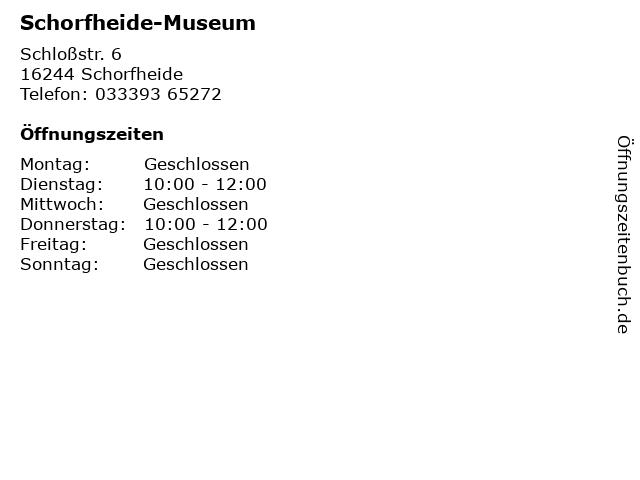 Schorfheide-Museum in Schorfheide: Adresse und Öffnungszeiten