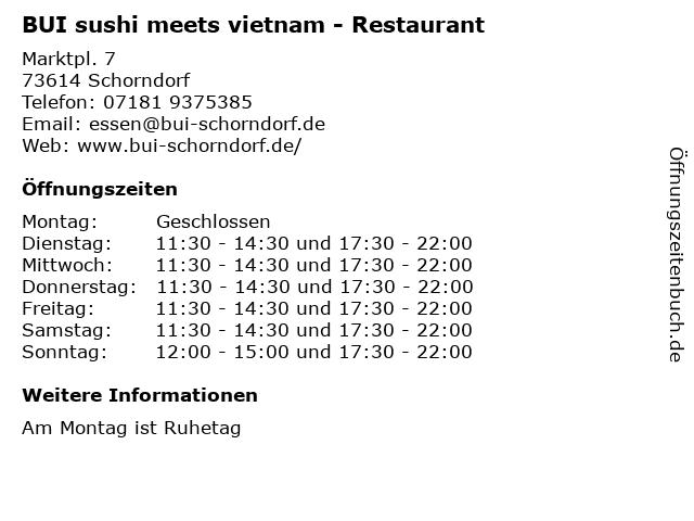 BUI sushi meets vietnam - Restaurant in Schorndorf: Adresse und Öffnungszeiten