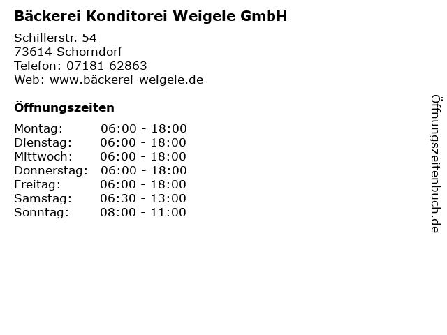 Bäckerei Konditorei Weigele GmbH in Schorndorf: Adresse und Öffnungszeiten