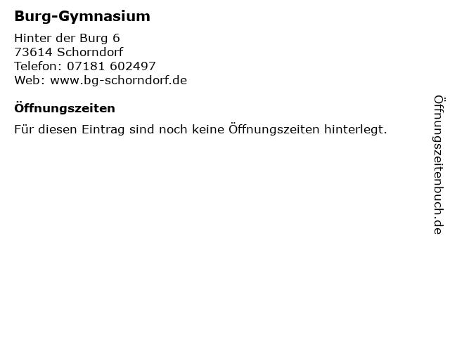 Burg-Gymnasium in Schorndorf: Adresse und Öffnungszeiten