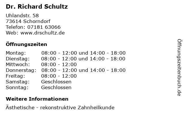 Dr. Richard Schultz in Schorndorf: Adresse und Öffnungszeiten
