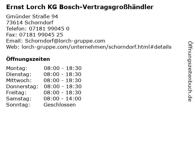 Ernst Lorch KG Bosch-Vertragsgroßhändler in Schorndorf: Adresse und Öffnungszeiten