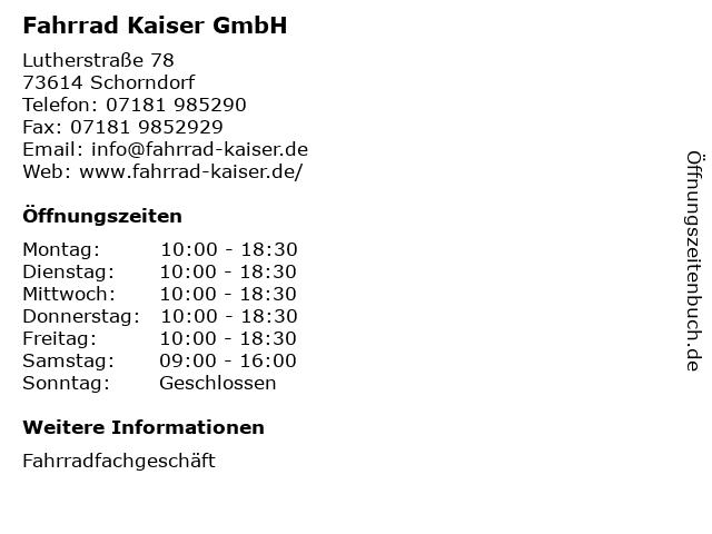Fahrrad Kaiser GmbH in Schorndorf: Adresse und Öffnungszeiten