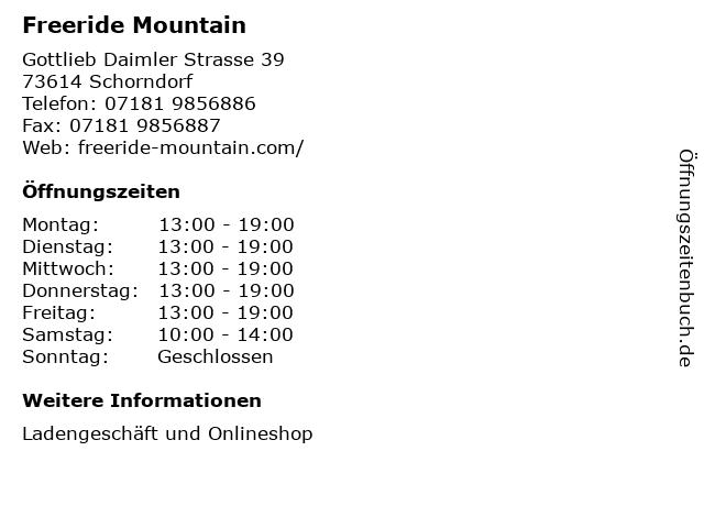 Freeride Mountain in Schorndorf: Adresse und Öffnungszeiten