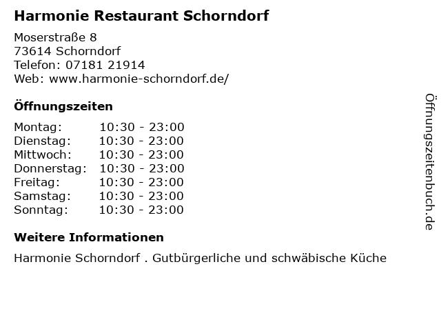 Harmonie Restaurant Schorndorf in Schorndorf: Adresse und Öffnungszeiten