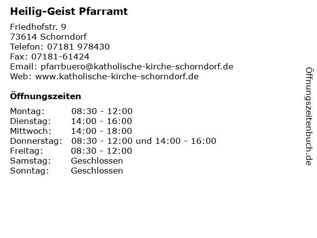 Heilig-Geist Pfarramt in Schorndorf: Adresse und Öffnungszeiten