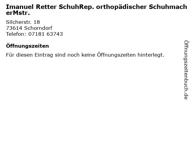 Imanuel Retter SchuhRep. orthopädischer SchuhmacherMstr. in Schorndorf: Adresse und Öffnungszeiten