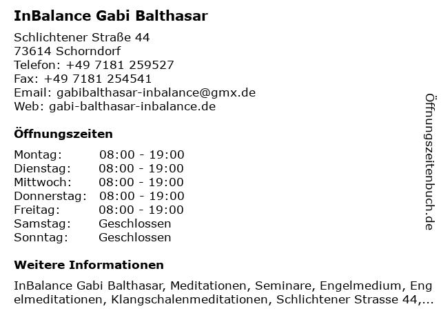 InBalance Gabi Balthasar in Schorndorf: Adresse und Öffnungszeiten