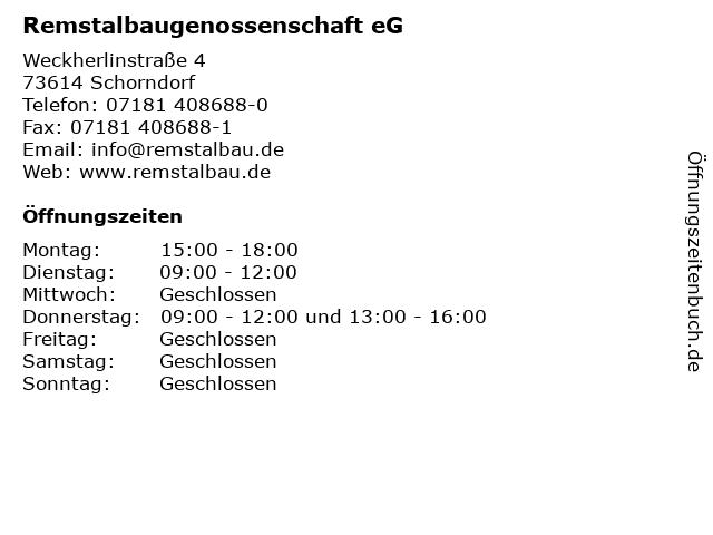 Remstalbaugenossenschaft eG in Schorndorf: Adresse und Öffnungszeiten
