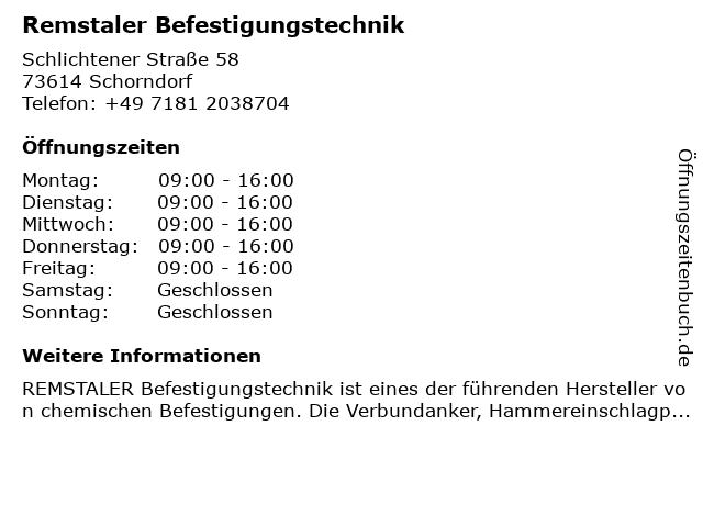 Remstaler Befestigungstechnik in Schorndorf: Adresse und Öffnungszeiten