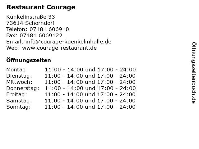 Restaurant Courage in Schorndorf: Adresse und Öffnungszeiten